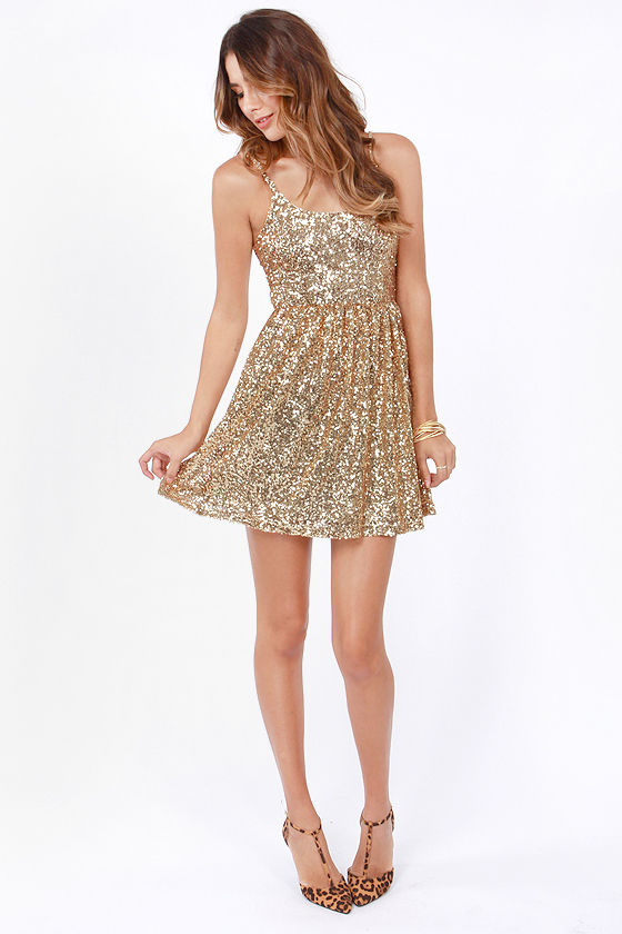 02b8161c Pretty Gold Dress - Sequin Dress - Cocktail Dress - Skater Dress ...