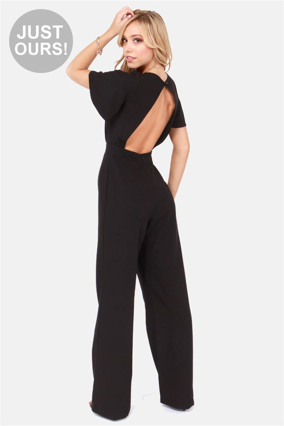 Sexy Black Jumpsuit - Backless Jumpsuit - Wide-Leg Jumpsuit ...