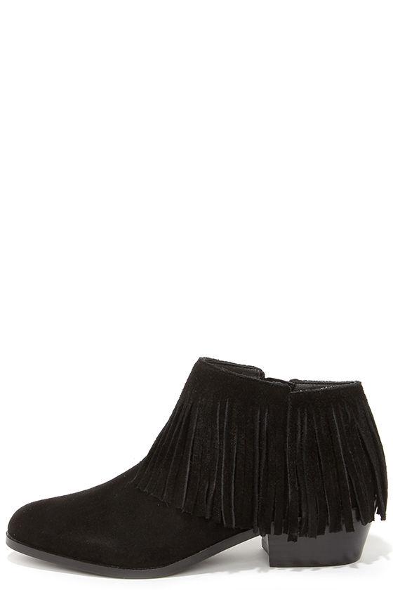 Cute Black Booties - Suede Booties - Fringe Booties - Ankle Boots ...