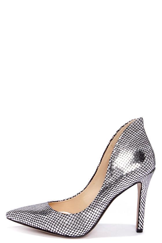 Sexy Silver Heels - Snakeskin Heels - High Heels - $89.00