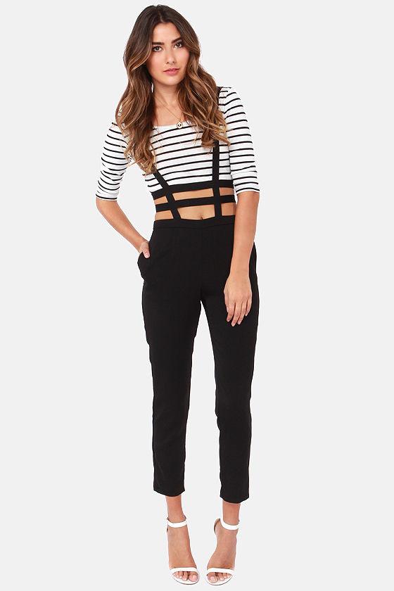 Cool Black Pants High Waisted Pants Suspender Pants
