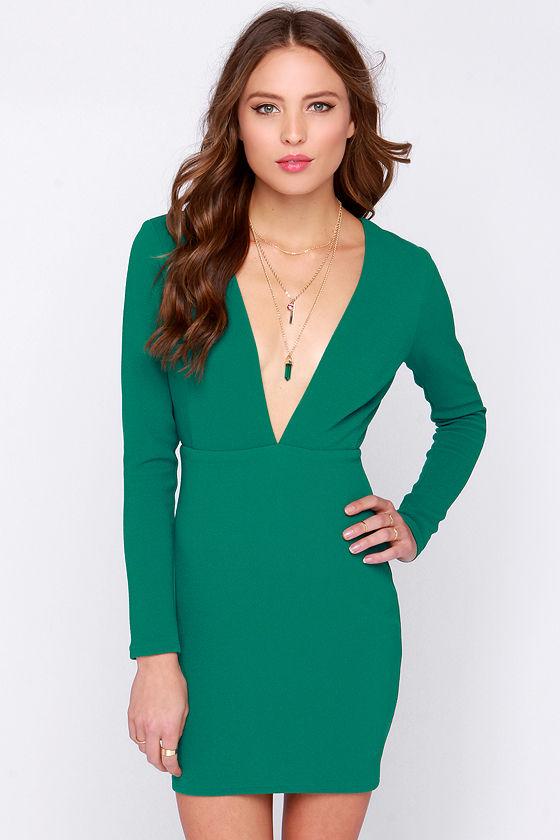Sexy Green Dress - Long Sleeve Dress - Backless Dress - $77.00