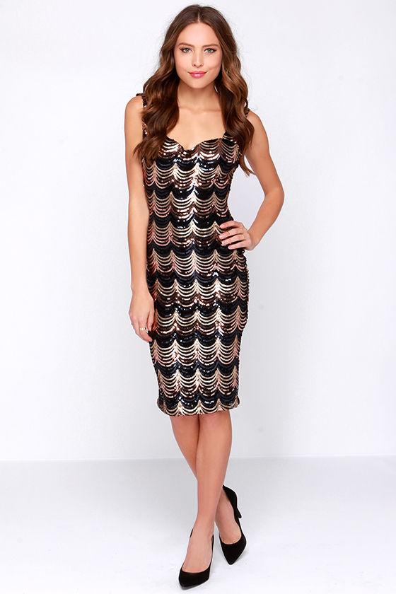 332075617ce1 Sexy Black And Gold Dress - Midi Dress - Sequin Dress -  49.00