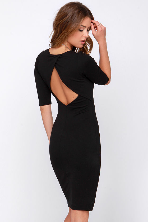 Sexy Black Dress - Bodycon Dress - Midi Dress - Short Sleeve Dress ...