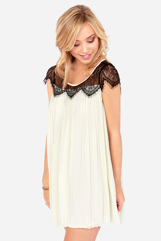 Darling Alannah Pleated Cream Lace Dress at Lulus.com!