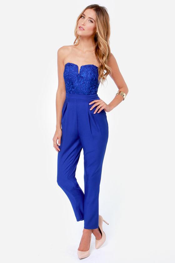 Sexy Blue Jumpsuit - Strapless Jumpsuit - Lace Jumpsuit - $45.00