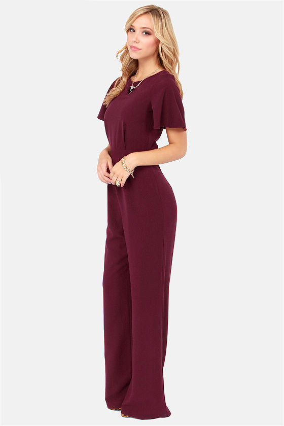 LULUS Exclusive Between View and Me Backless Burgundy Jumpsuit at Lulus.com!