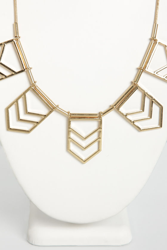 Chevron Point Gold Necklace at Lulus.com!