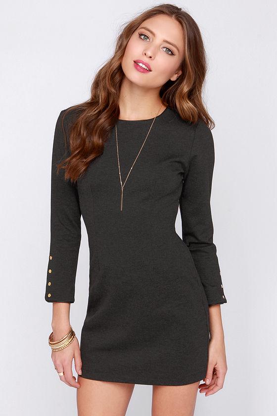 Chic Grey Dress - Long Sleeve Dress - Bodycon Dress - $56.00