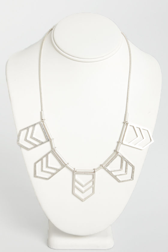 Chevron Point Silver Necklace at Lulus.com!