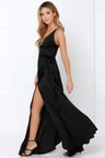 Sexy Black Dress Wrap Dress Maxi Dress 4900