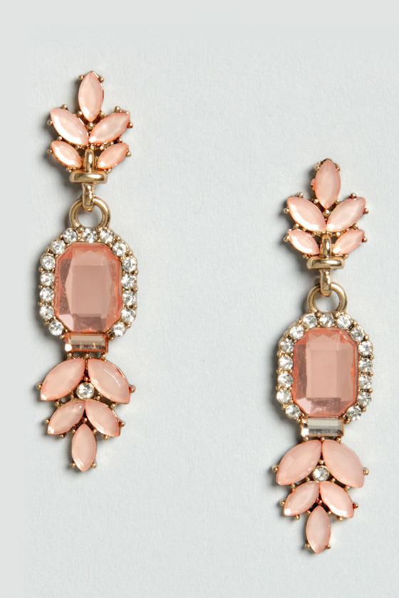 Song and Decadence Peach Rhinestone Earrings at Lulus.com!