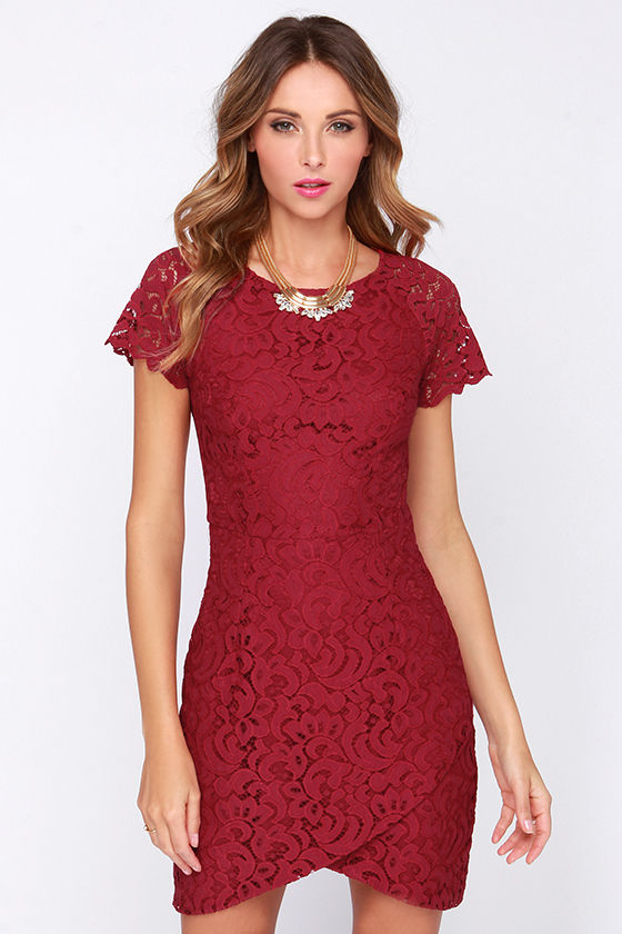 8c132d20034 Pretty Wine Red Dress - Lace Dress - Bodycon Dress -  75.00