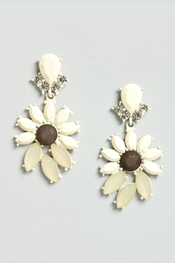 Join In Matte-rimony Ivory Rhinestone Earrings at Lulus.com!