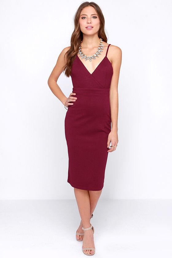 Cute Burgundy Dress - Bodycon Dress - Cocktail Dress - $45.00