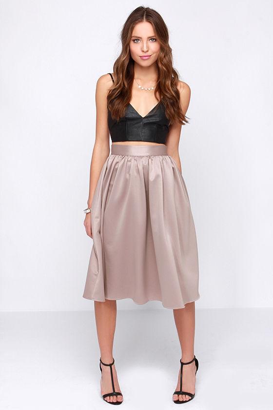8c22d538c5 Pretty Midi Skirt - Taupe Skirt - High Waisted Skirt - $75.00