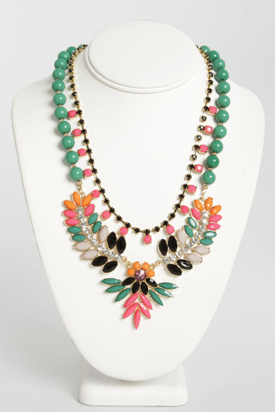 Mirage Mahal Layered Pink and Green Necklace at Lulus.com!