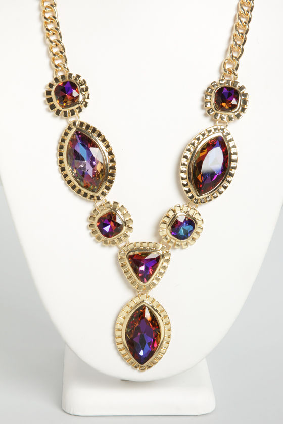 Jasmine's Gems Gold Rhinestone Necklace at Lulus.com!