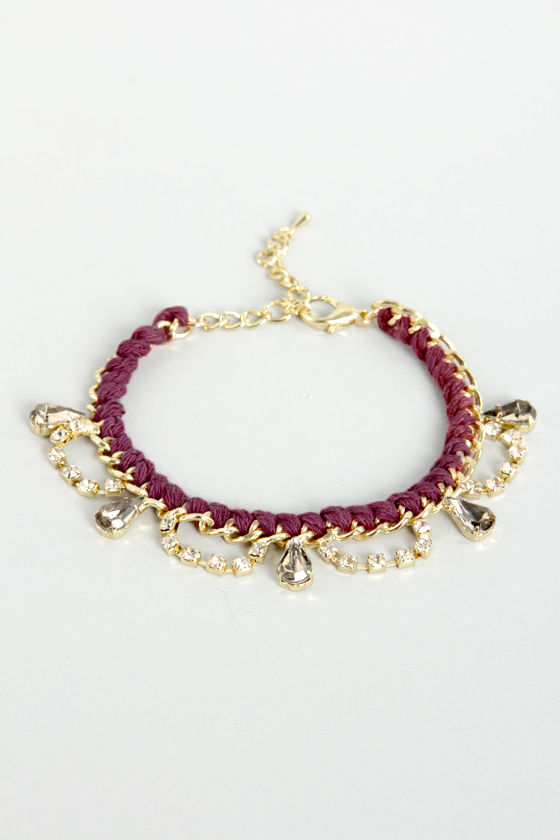 Chain on the Brain Gold and Burgundy Bracelet at Lulus.com!