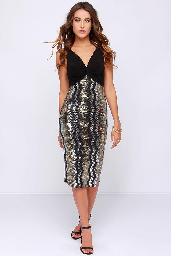 Starlight Stunner Black Sequin Midi Dress