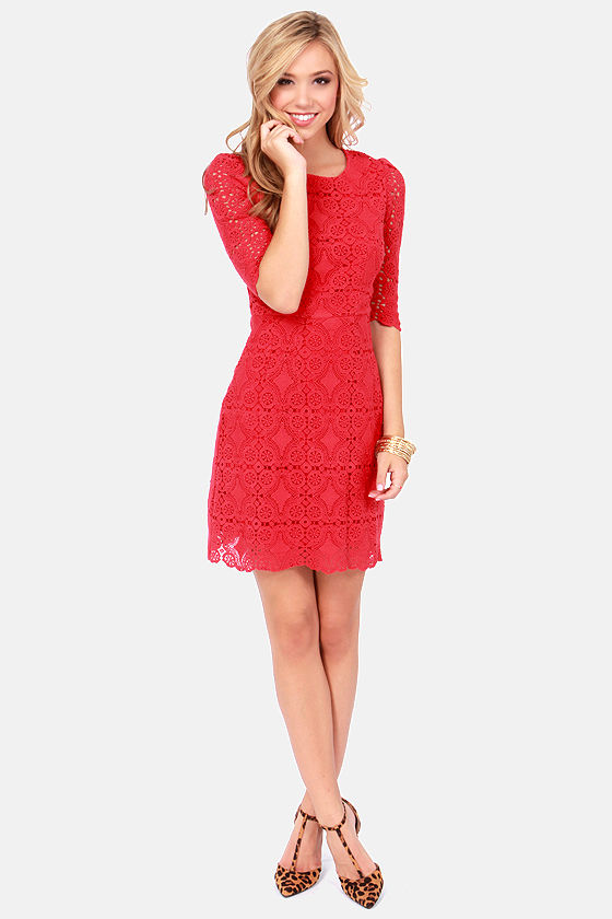 Crochet Hello For Me Red Lace Dress at Lulus.com!