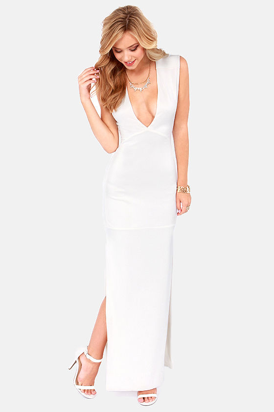 First Come, First Curve Ivory Maxi Dress at Lulus.com!