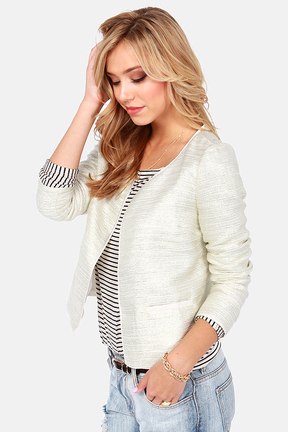Glint To Be Cream Cropped Jacket at Lulus.com!