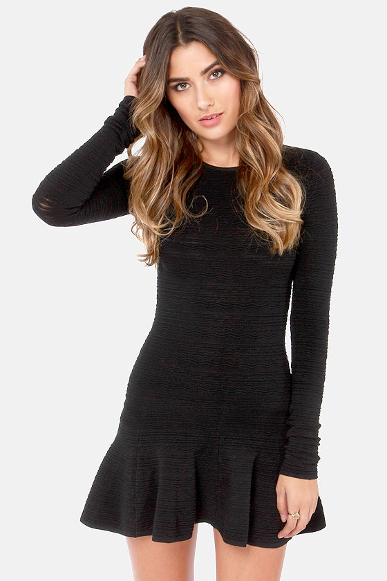 Sexy Black Dress - Long Sleeve Dress - Mini Dress - $68.00