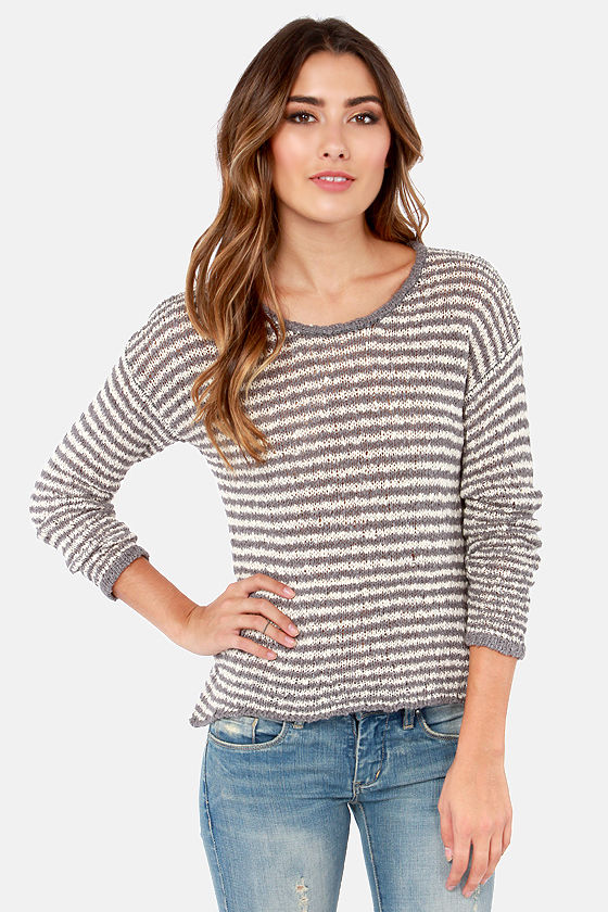 Ribbon There, Done That Ivory and Grey Striped Sweater at Lulus.com!