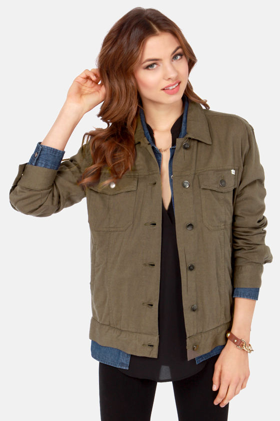 RVCA Beedle - Cute Olive Green Jacket - Military Jacket ...