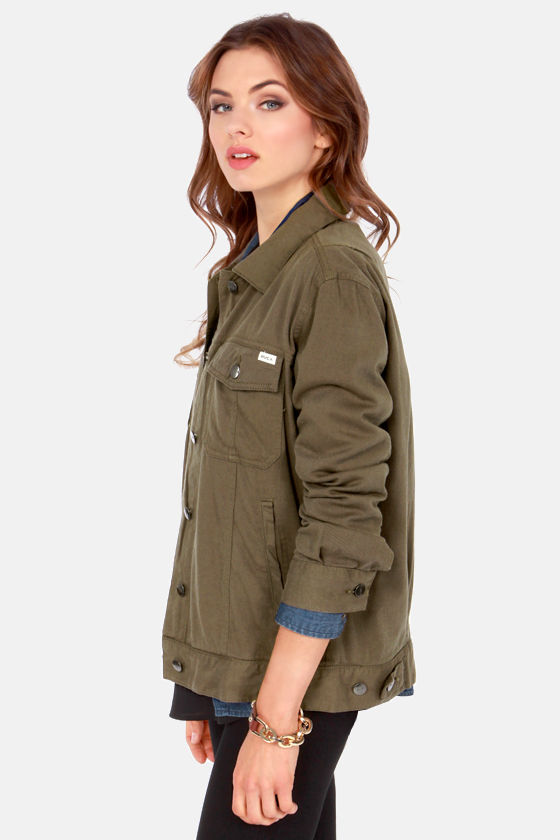 RVCA Beedle Lightweight Olive Green Jacket at Lulus.com!