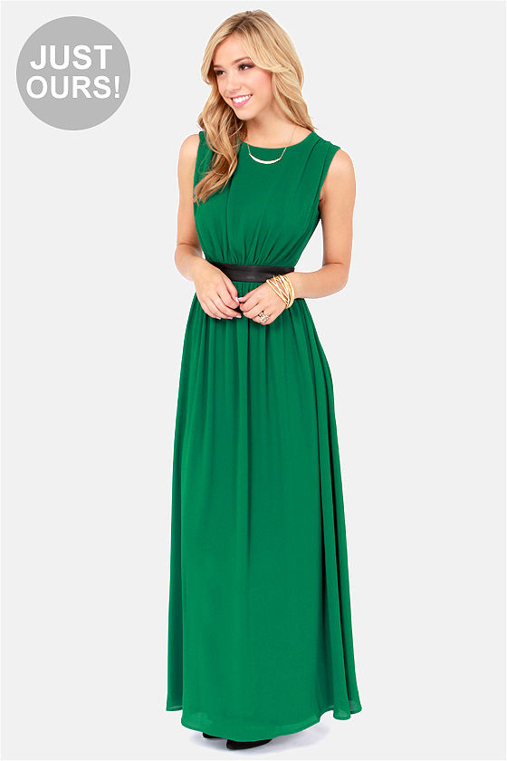 Pretty Green Dress - Maxi Dress - Sleeveless Dress - $71.00
