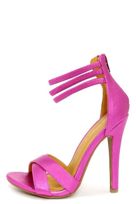 0f5e37860df4 Cute Fuchsia Shoes - Ankle Strap Heels - Peep Toe Heels -  33.00