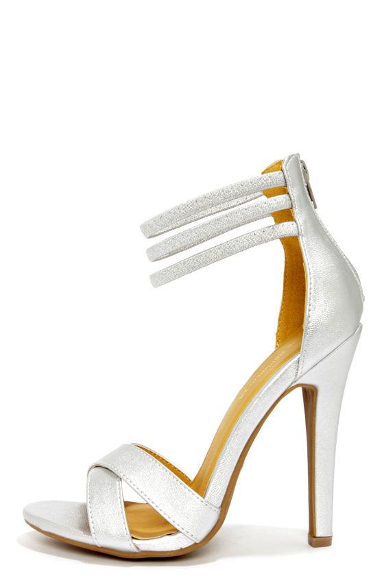 a90e19504d6 Cute Silver Shoes - Ankle Strap Heels - Peep Toe Heels -  33.00