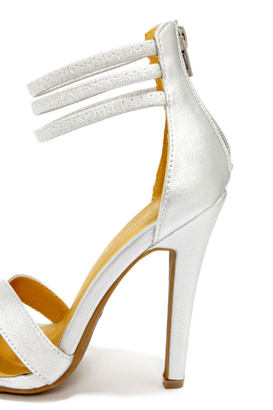 Shoe Republic LA Lusy Silver Ankle Strap Heels at Lulus.com!