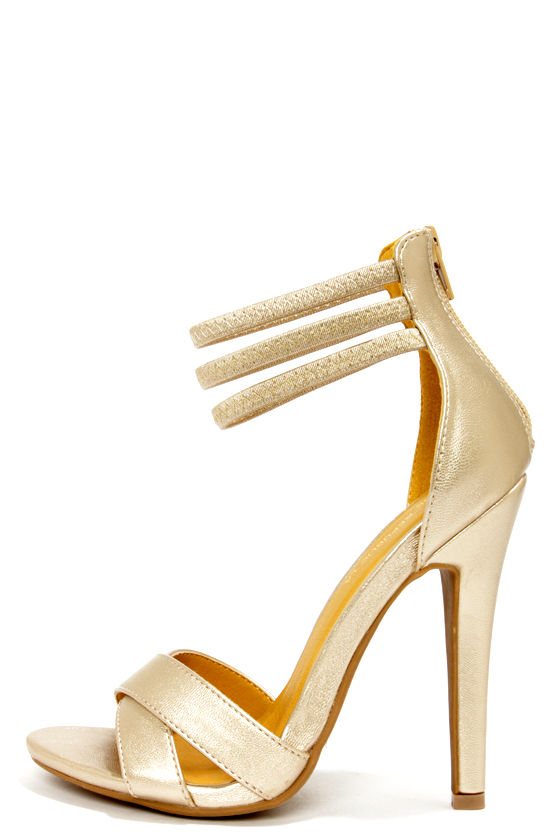 Cute Gold Shoes - Ankle Strap Heels - Peep Toe Heels - $33.00