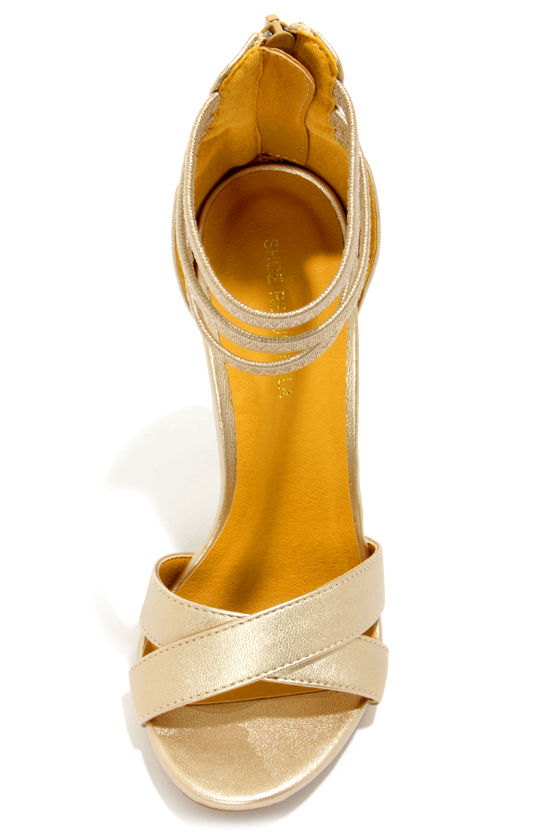 Shoe Republic LA Lusy Gold Ankle Strap Heels at Lulus.com!