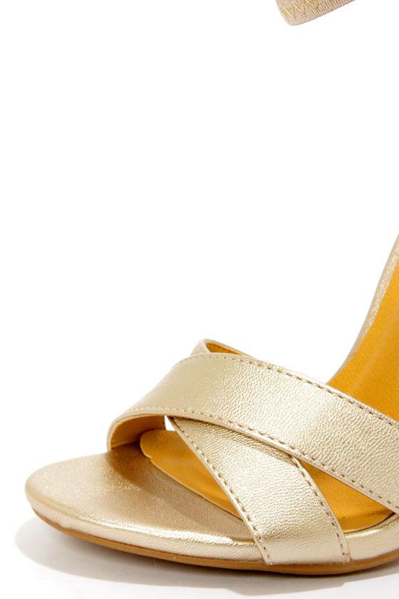 Shoe Republic LA Lusy Gold Ankle Strap Heels at Lulus.com!