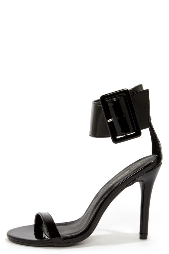 Shoe Republic LA Gayla Black Patent Single Strap Heels at Lulus.com!