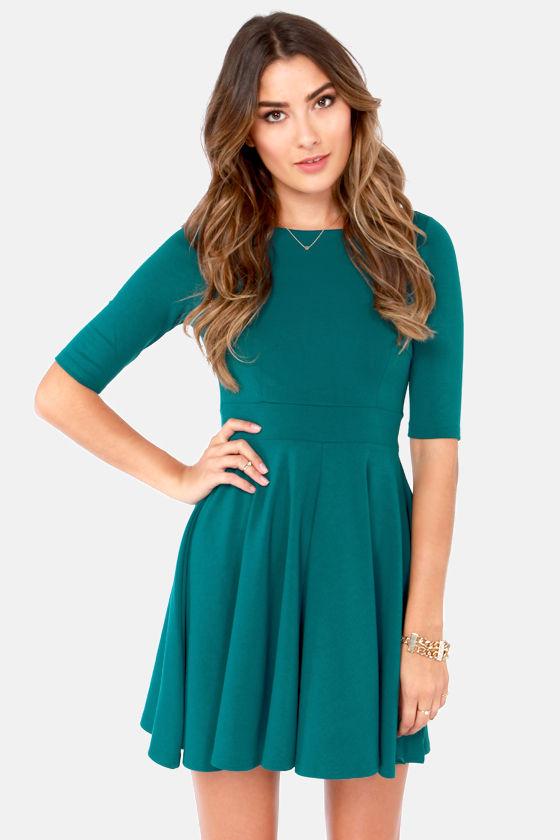 33157a82f5bb3 Black Swan Olivia Dress - Teal Dress - Skater Dress - $63.00