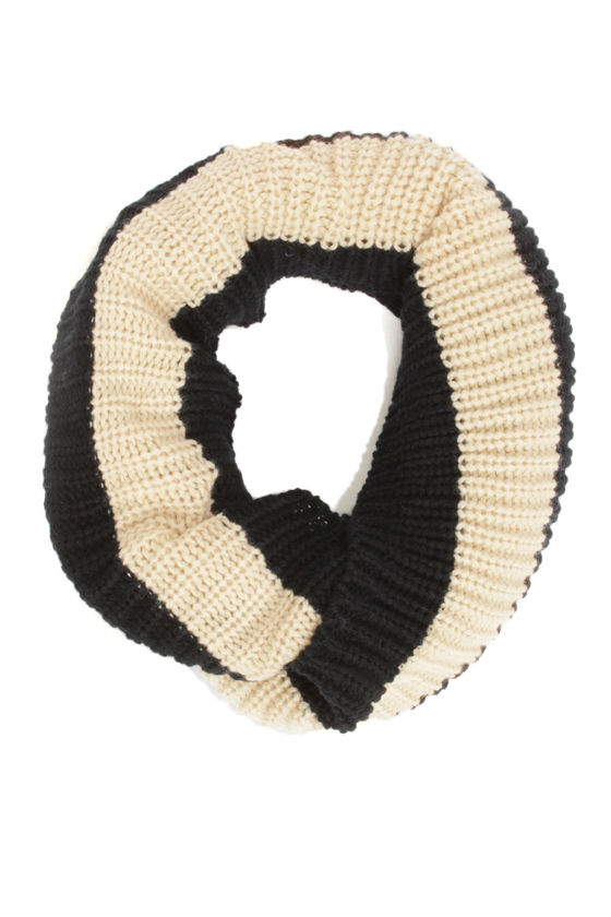 Lend a Helping Band Beige and Black Striped Infinity Scarf at Lulus.com!