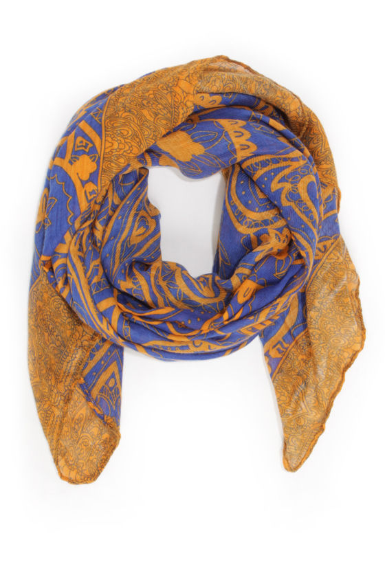 It Paisley To Know Orange and Blue Print Scarf at Lulus.com!