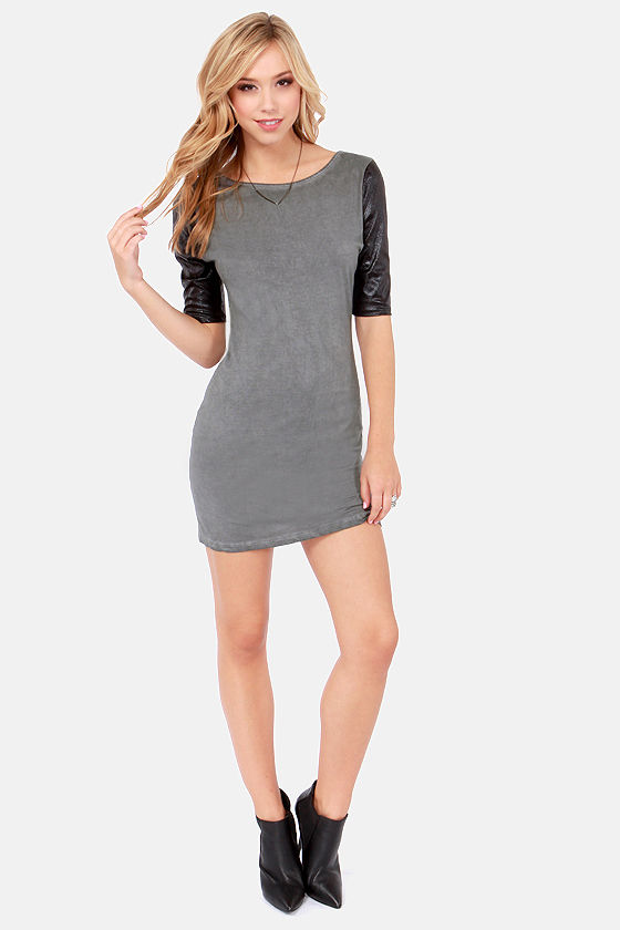 White Crow Lonan Black and Washed Grey Dress at Lulus.com!