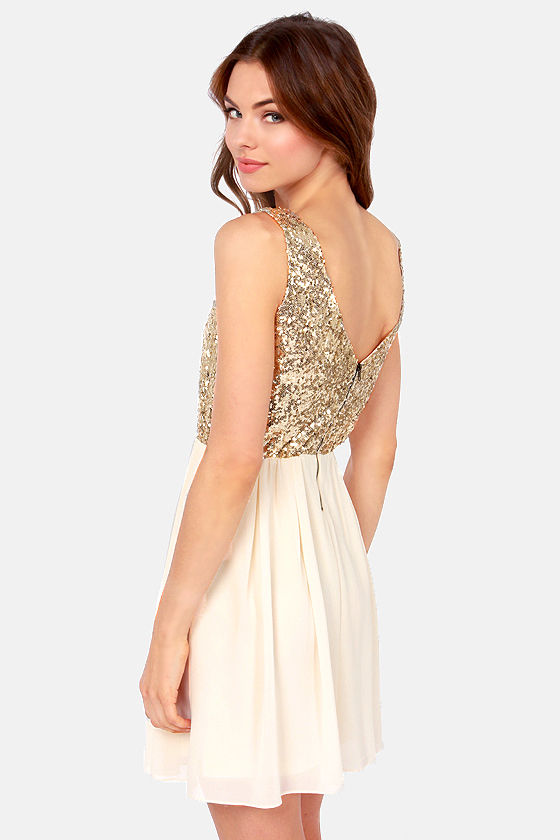 Cute Cream Dress - Gold Dress - Sequin Dress - $45.00
