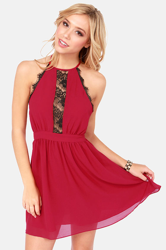 Sexy Wine Red Dress - Halter Dress - Lace Dress - $40.00