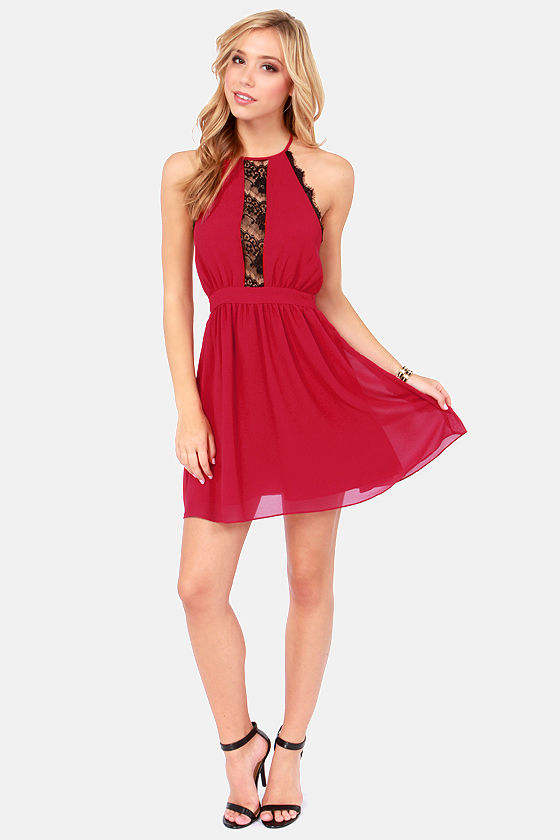 Fireball Wine Red Halter Dress at Lulus.com!