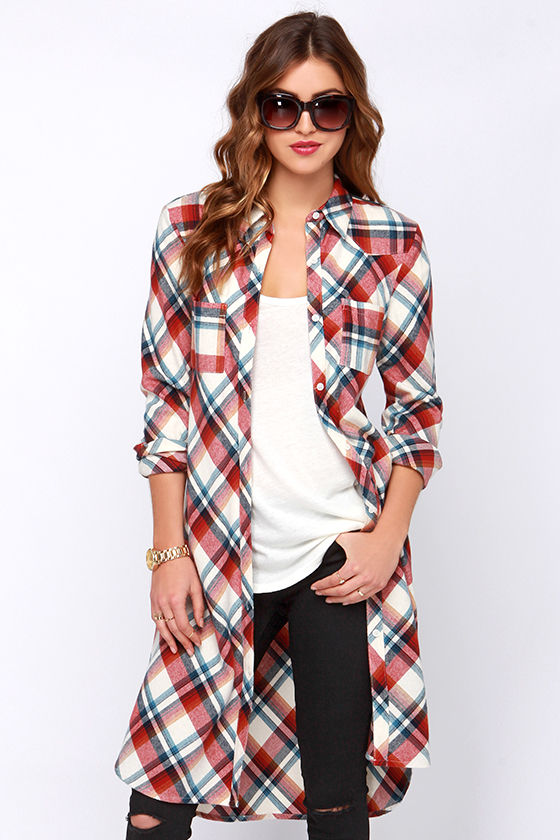 Cute Red Top Maxi Top Flannel Top Plaid Top Long