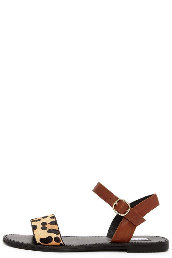 c7180261379b Cute Leopard Sandals - Pony Fur Sandals - Flat Sandals - $69.00