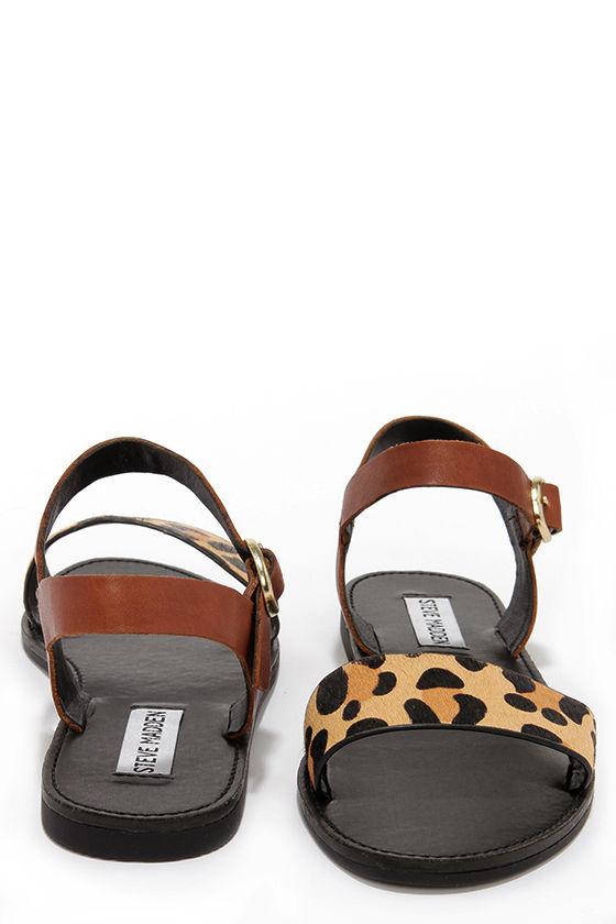 Cute Leopard Sandals - Pony Fur Sandals - Flat Sandals -  69.00