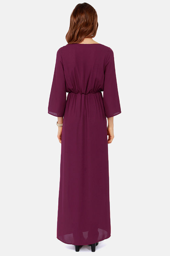 Wrapped in Romance Burgundy Maxi Dress at Lulus.com!
